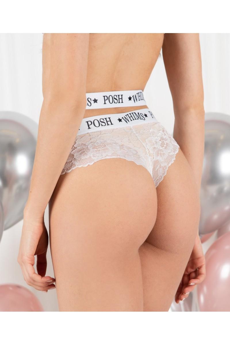 "Бразилиана ниска талия ""Whims POSH Sport White Lace"""